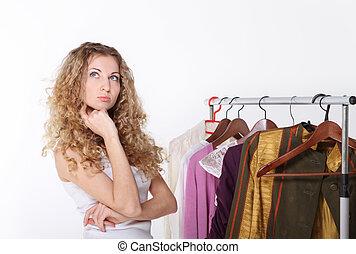leány, válogat, felöltöztet bevásárlás