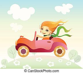 leány, vezetés, autó