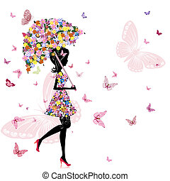 leány, virág, esernyő