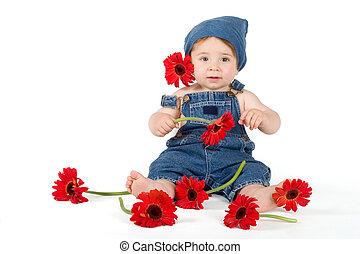 leány, virág