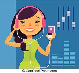 leány, zene hallgat