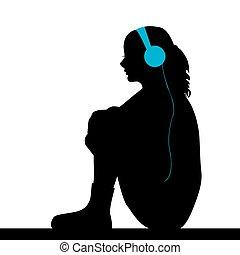 leány, zene hallgat, bús