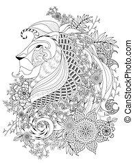 leão, adulto, coloração, página
