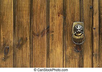 leão, -, aldrava porta