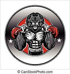 leão, bodybuilder, ilustração