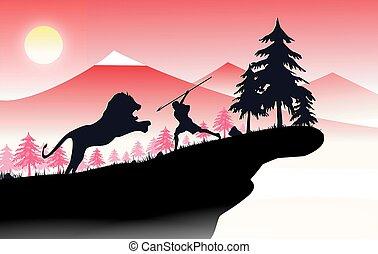 leão, caçador