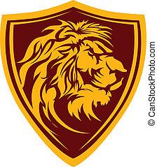 leão, cabeça, gráfico, mascote, illustrati