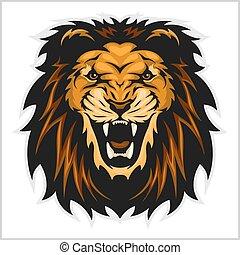 leão, cabeça, ilustração