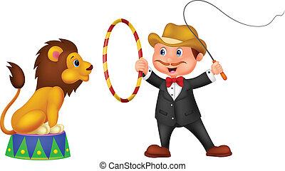 leão, caricatura, domador