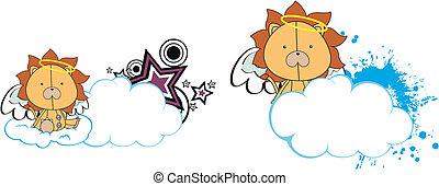 leão, copysapce, caricatura, anjo, criança