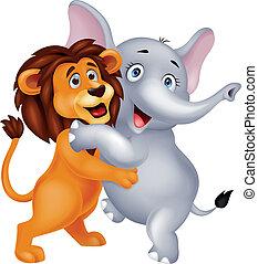 leão, elefante, abraçar