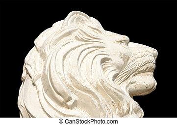 leão, estátua, isolado, ligado, pretas