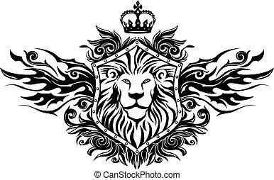 leão, ligado, escudo, insignia