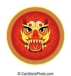 leão, máscara, símbolo