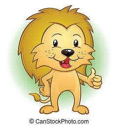 leão, mascote, cima, caricatura, polegares