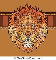 leão, ornamento, cabeça, étnico