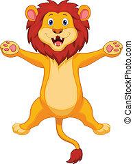 leão, pular, caricatura, feliz