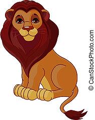 leão, sentando