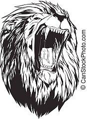 leão, vetorial, cabeça, ilustração
