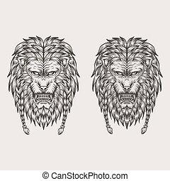 leão, vetorial, desenhar, ilustração, mão