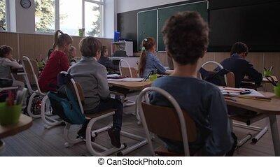 leçon, écoute, géographie, prof, étudiants