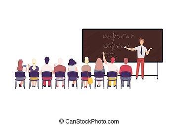 leçon, collège, vecteur, enseignement, illustration, math, école, étudiants, élevé, mâle, université, classe, plat, prof