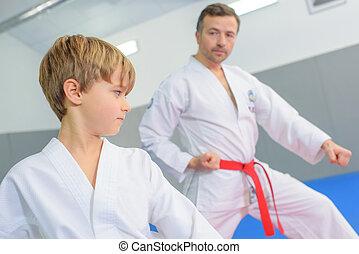 leçon, garçon, arts, jeune, martial