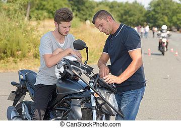 leçon, inspection, sécurité, avant, moto, unités