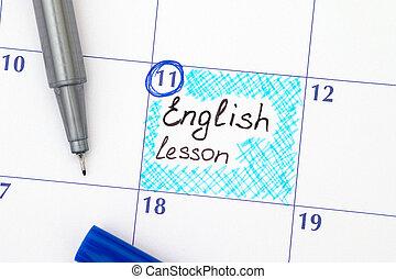 leçon, stylo, rappel, calendrier, anglaise