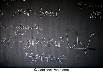 leçon, tableau noir, écrit, il, math