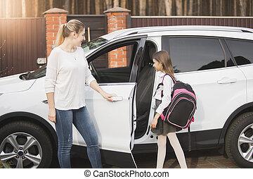leçons, école, fille, après, mère, réunion