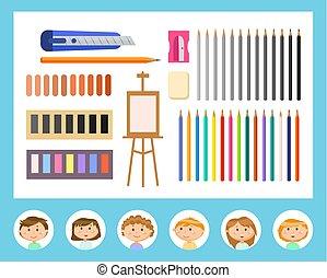 leçons, camarades classe, art, dessin, fournitures