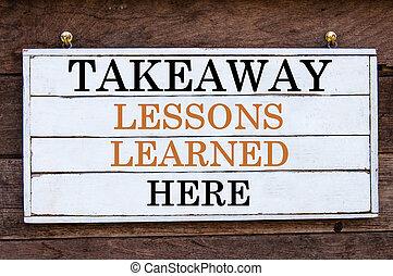 leçons, -, ici, inspirationnel, plat à emporter, message, savant