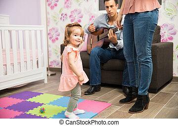 leçons, mignon, petit enfant, chant, avoir