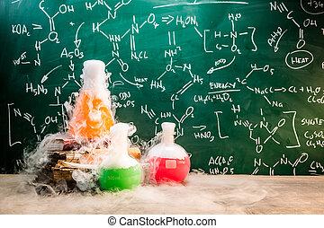 leçons, rapide, réaction, chimique, école, chimie