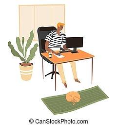 leçons, travailleur indépendant, préparer, informatique, ligne, fonctionnement, étudiant
