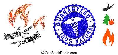 leña, natural, mosaico, clínica, estampilla, biohazard,...