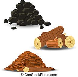 leña, virutas de madera, carbón
