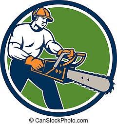 leñador, árbol, chainsaw, cirujano, arborist, círculo