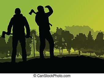 leñador, leñador, con, hacha, en, salvaje, montaña, bosque,...
