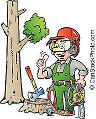 leñador, leñador, trabajando, o