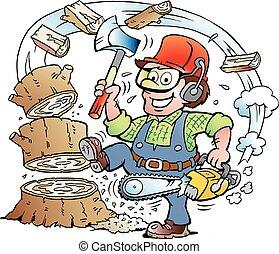 leñador, o, leñador, trabajando