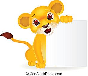 león bebé, caricatura, con, muestra en blanco