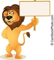 león, blanco, caricatura, señal