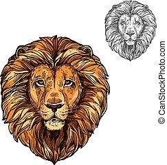 león, bozal, africano, animal salvaje, vector, bosquejo, icono
