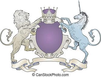 león, brazos, unicornio, chamarra, protector, corona