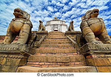 león, budista, estatuas