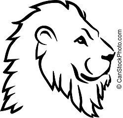 león, cabeza, lado