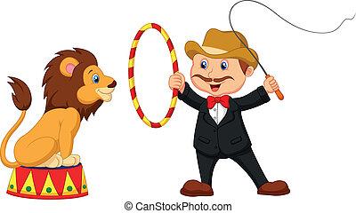 león, caricatura, domador