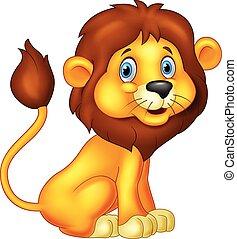 león, caricatura, sentado